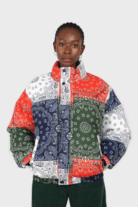 Multicolor paisley patchwork puffer jacket6