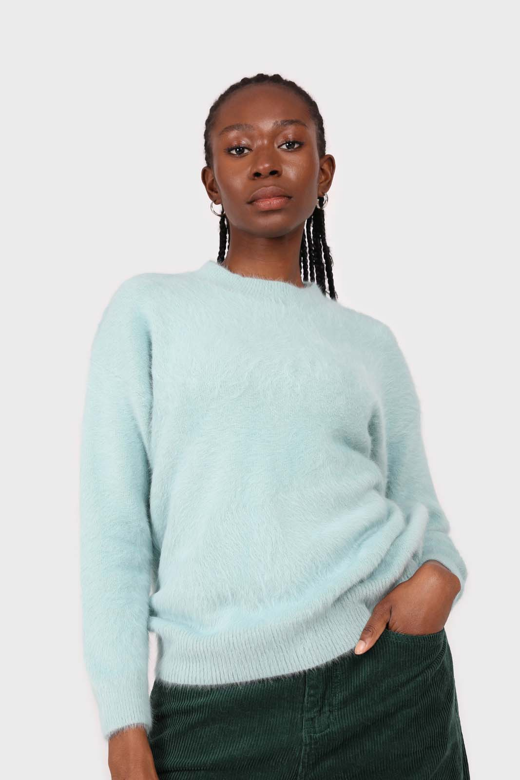 Mint angora furry crew neck jumper2