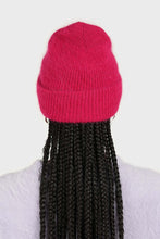 Load image into Gallery viewer, Bright purple mohair beanie hat 1