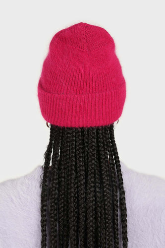 Bright purple mohair beanie hat 1