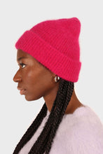 Load image into Gallery viewer, Bright purple mohair beanie hat sx