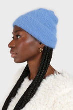 Load image into Gallery viewer, Bright blue mohair beanie hat1sx
