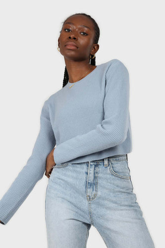 Blue cashmere-wool blend cropped knit top1sx