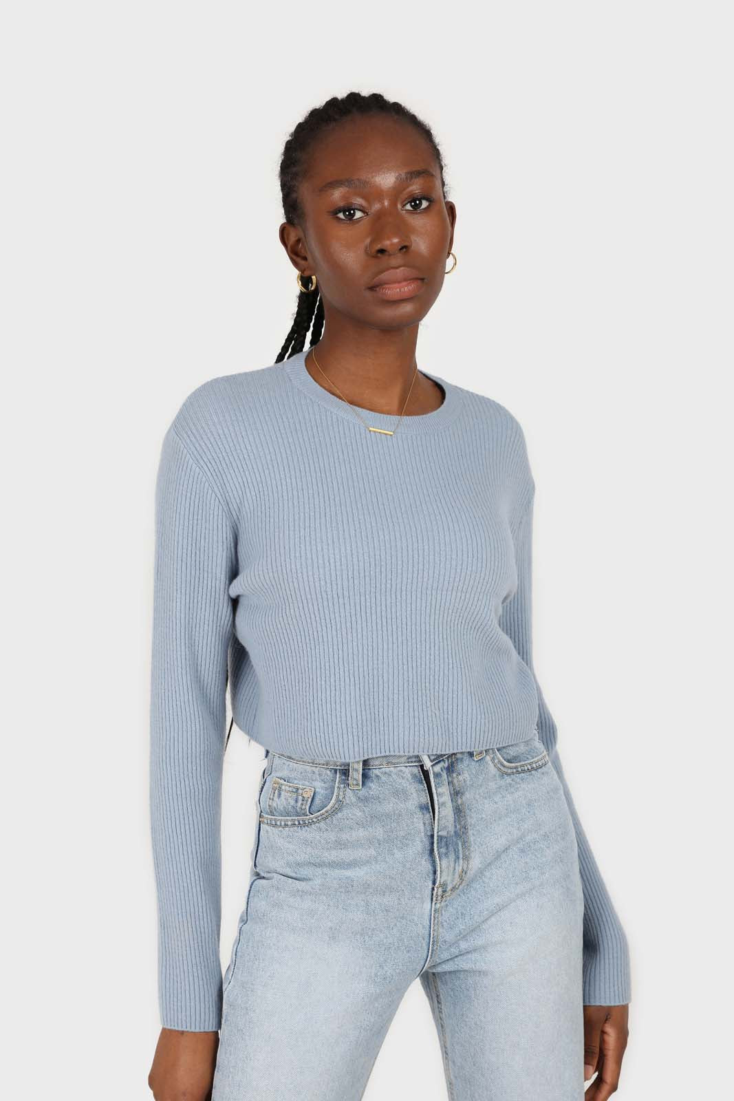 Blue cashmere-wool blend cropped knit top2