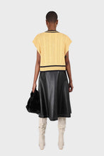 Load image into Gallery viewer, Yellow and black varsity trim cableknit vest2