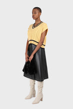 Load image into Gallery viewer, Yellow and black varsity trim cableknit vest3
