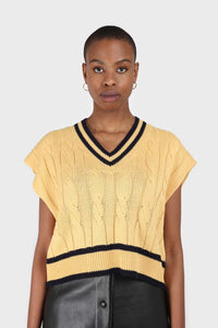 Yellow and black varsity trim cableknit vest4