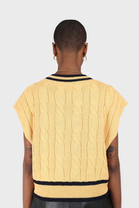 Yellow and black varsity trim cableknit vest6