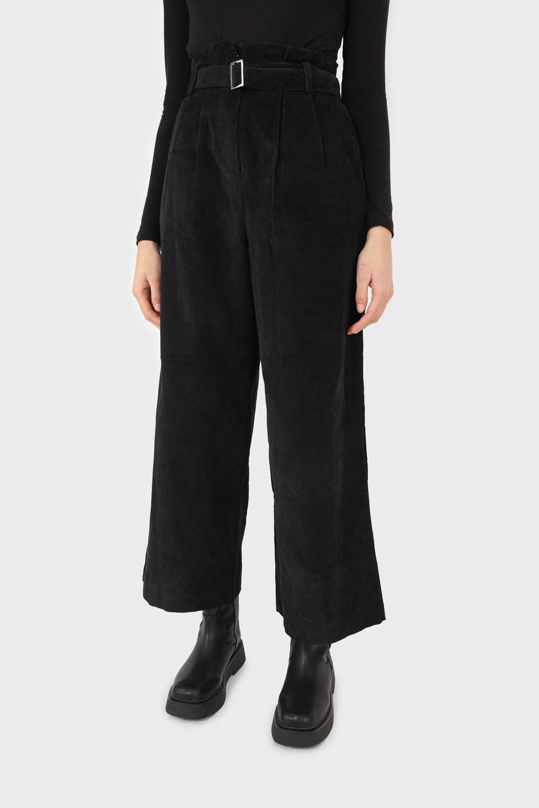 Black micro corduroy belted loose fit trousers3