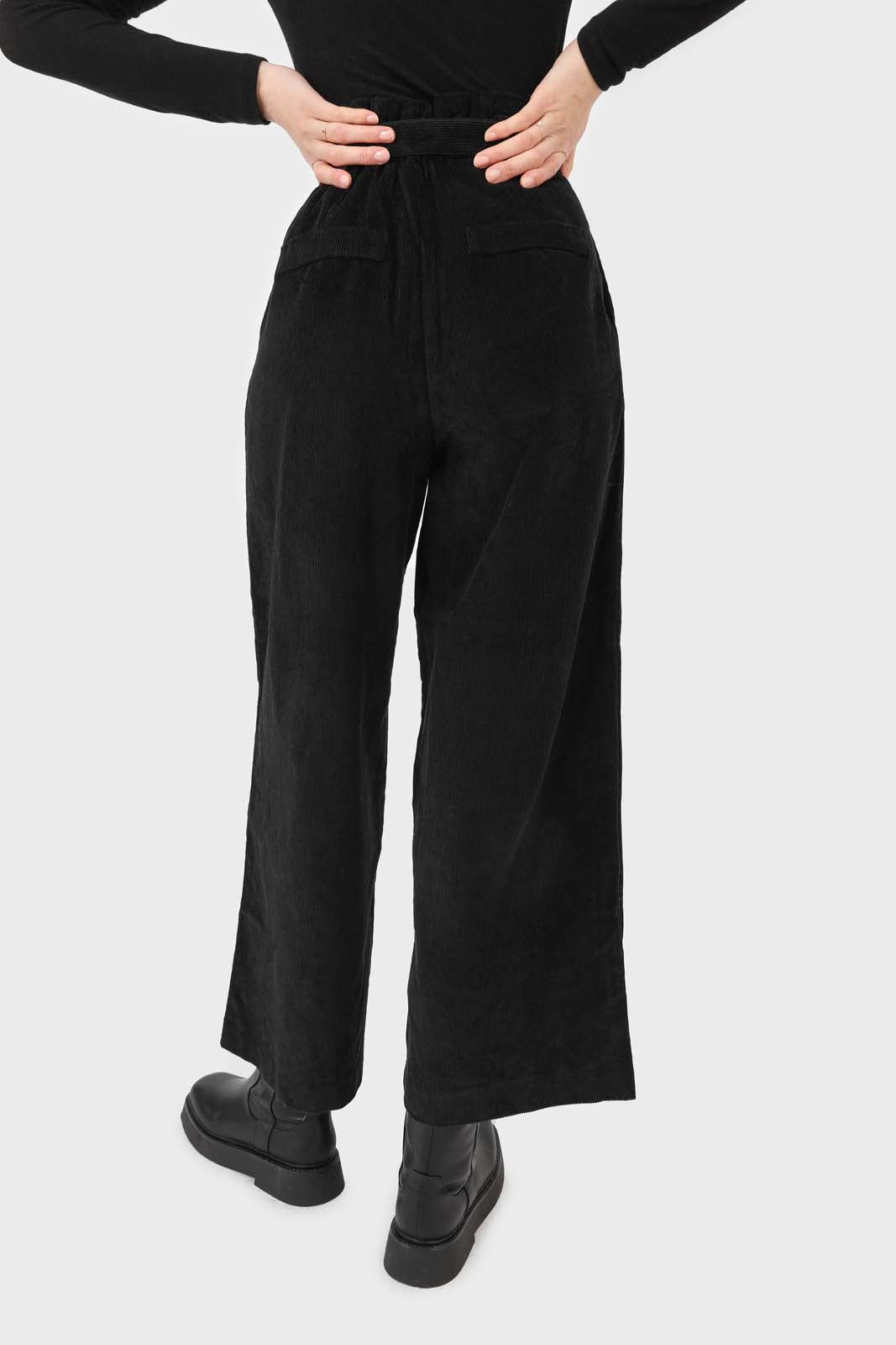 Black micro corduroy belted loose fit trousers4