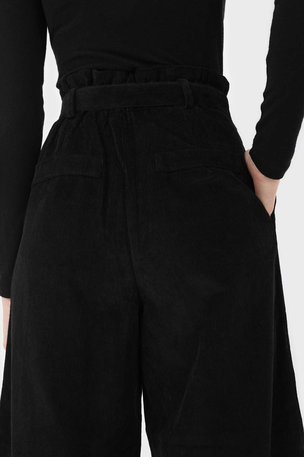 Black micro corduroy belted loose fit trousers5