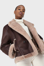 Load image into Gallery viewer, Brown and beige faux fur biker jacket4