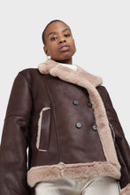 Load image into Gallery viewer, Brown and beige faux fur biker jacket5