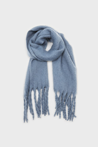 Bright blue fuzzy thick scarf - 8261sx