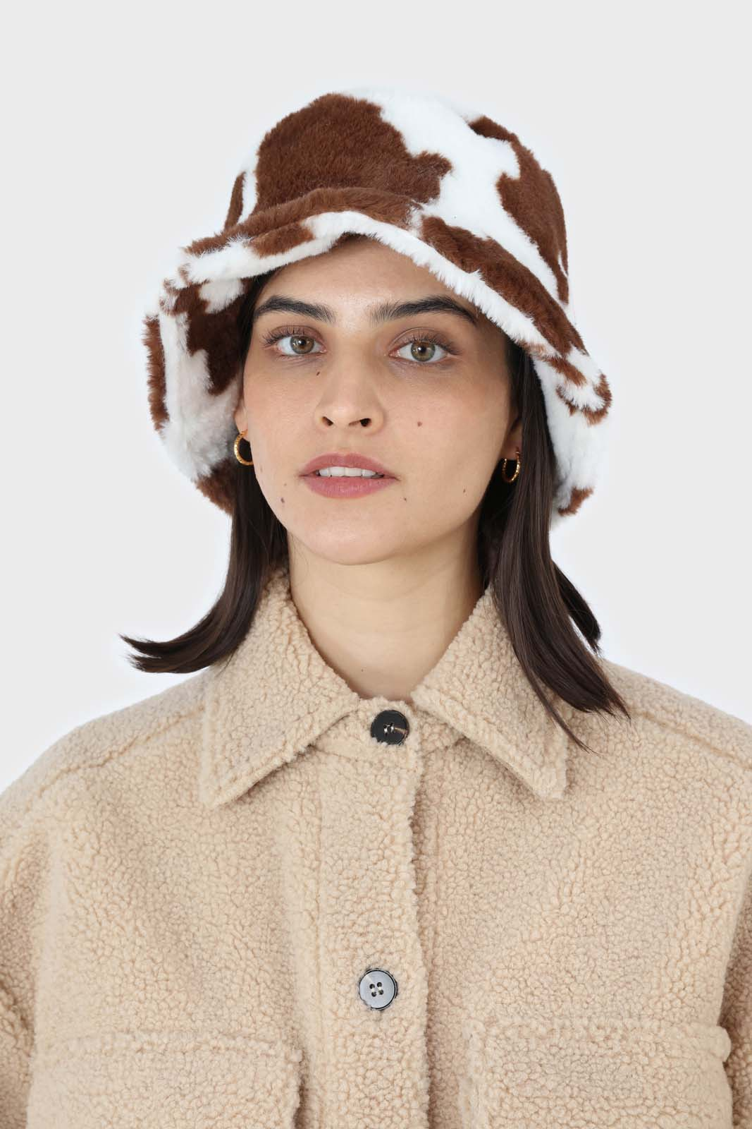 White and brown cow print faux fur bucket hat4