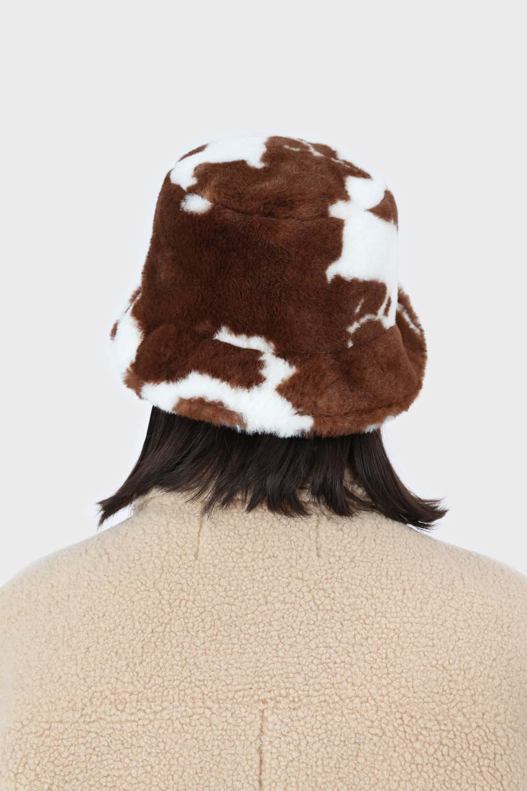 White and brown cow print faux fur bucket hat6