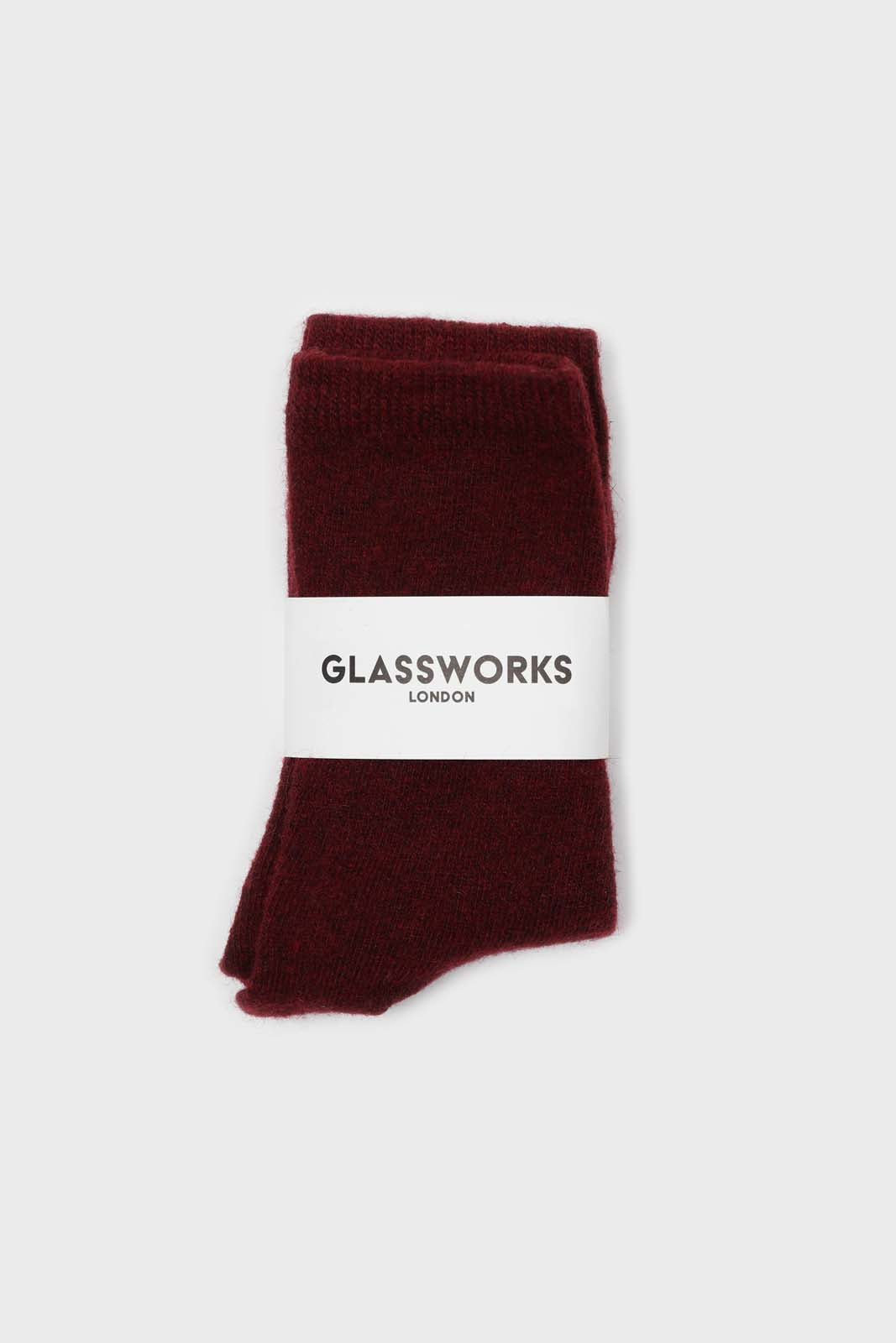 Burgundy smooth wool long socks1