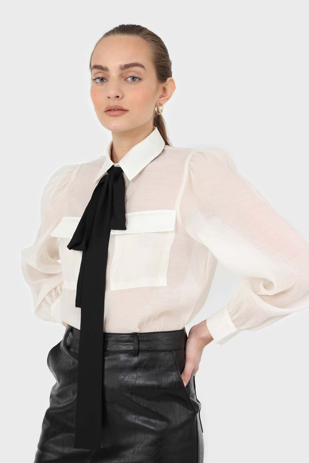 Ivory and black pussy bow semi sheer blouse1sx