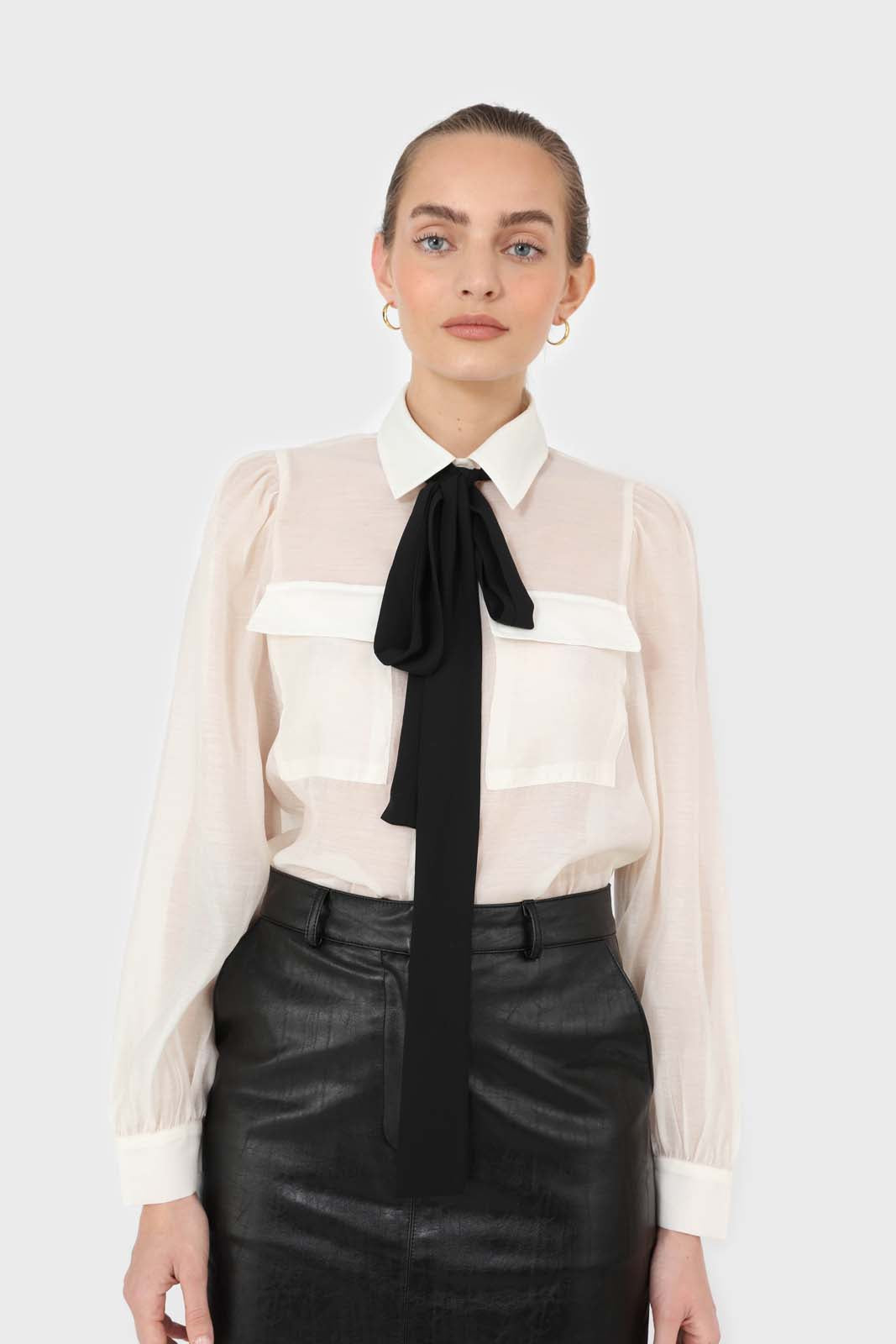 Ivory and black pussy bow semi sheer blouse5