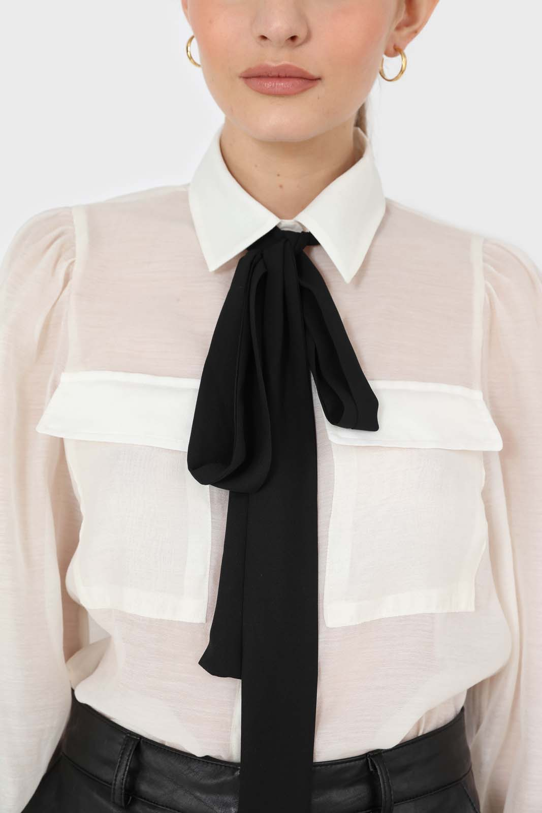 Ivory and black pussy bow semi sheer blouse6