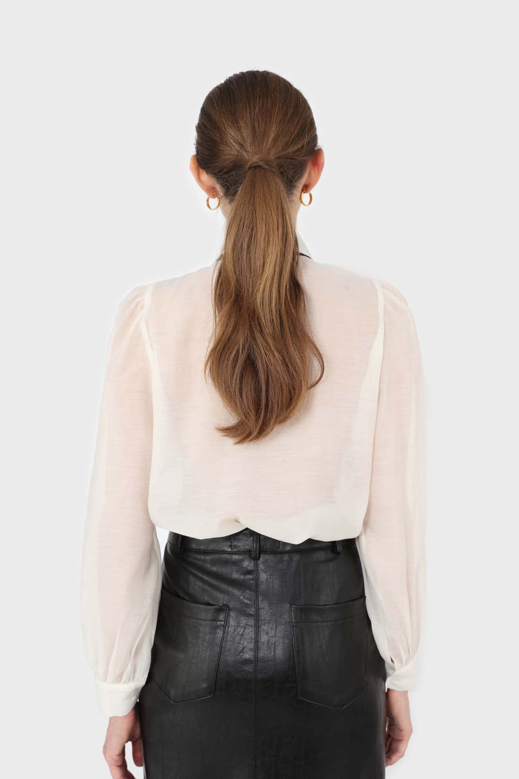 Ivory and black pussy bow semi sheer blouse7