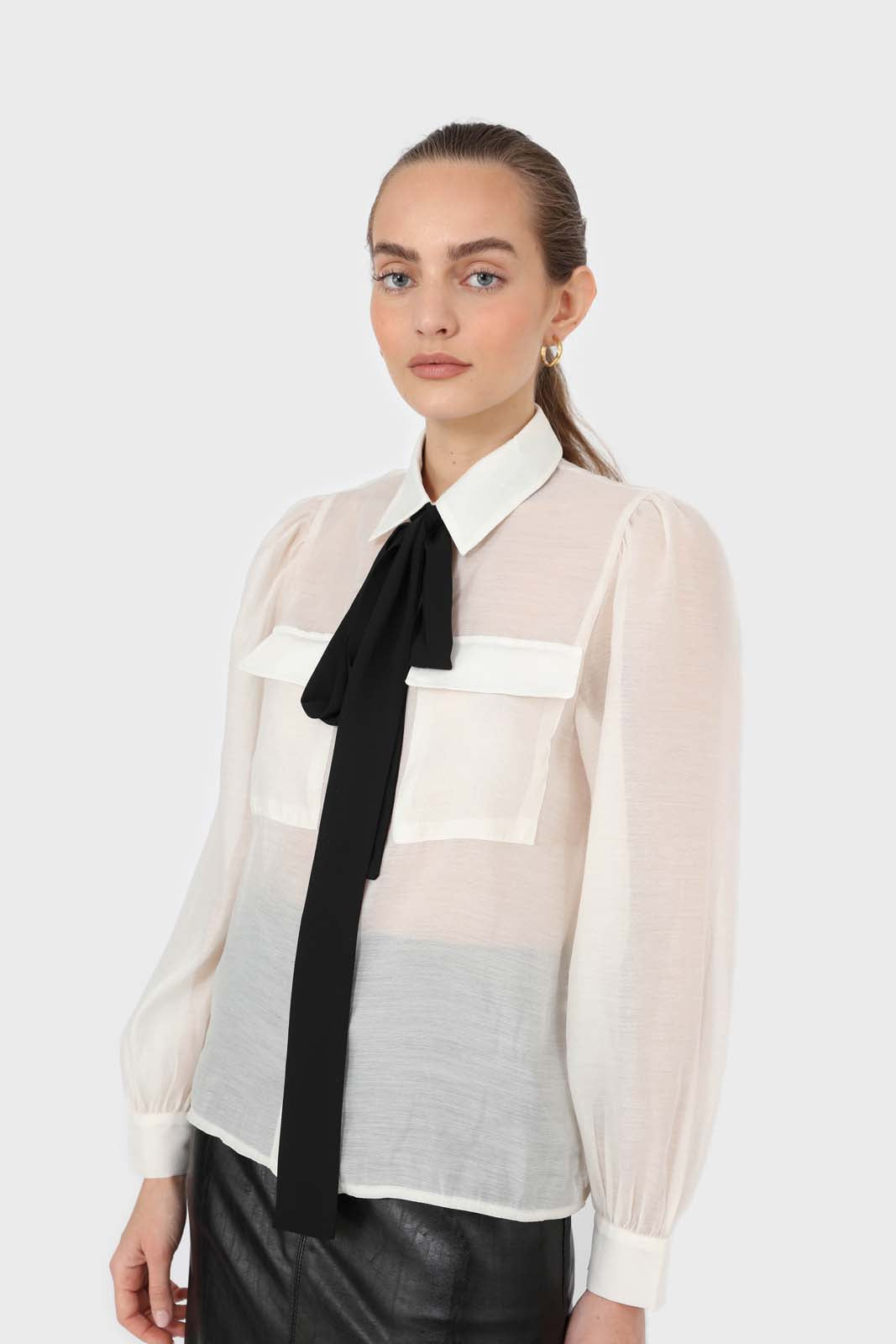 Ivory and black pussy bow semi sheer blouse8