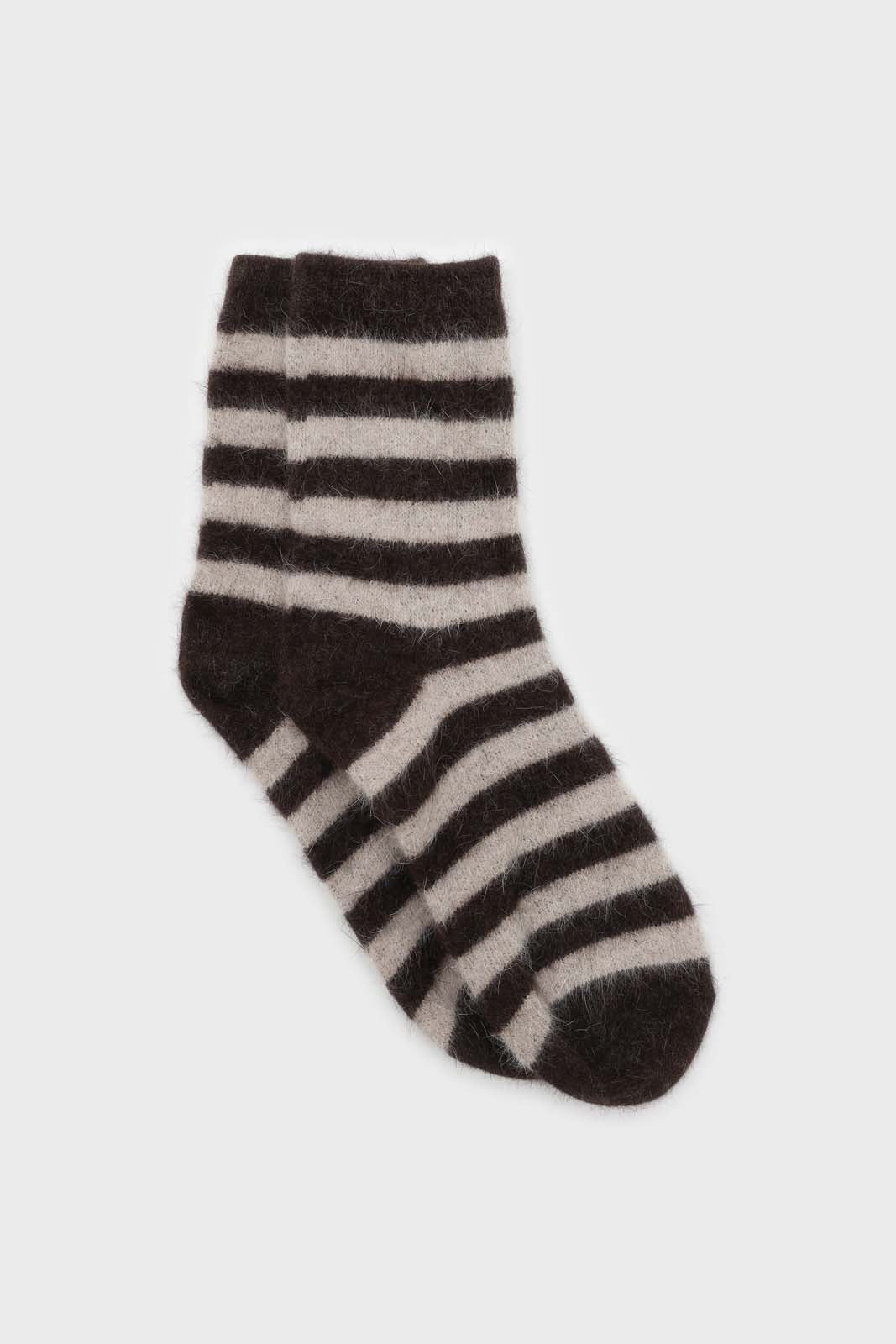Brown and beige striped angora socks sx