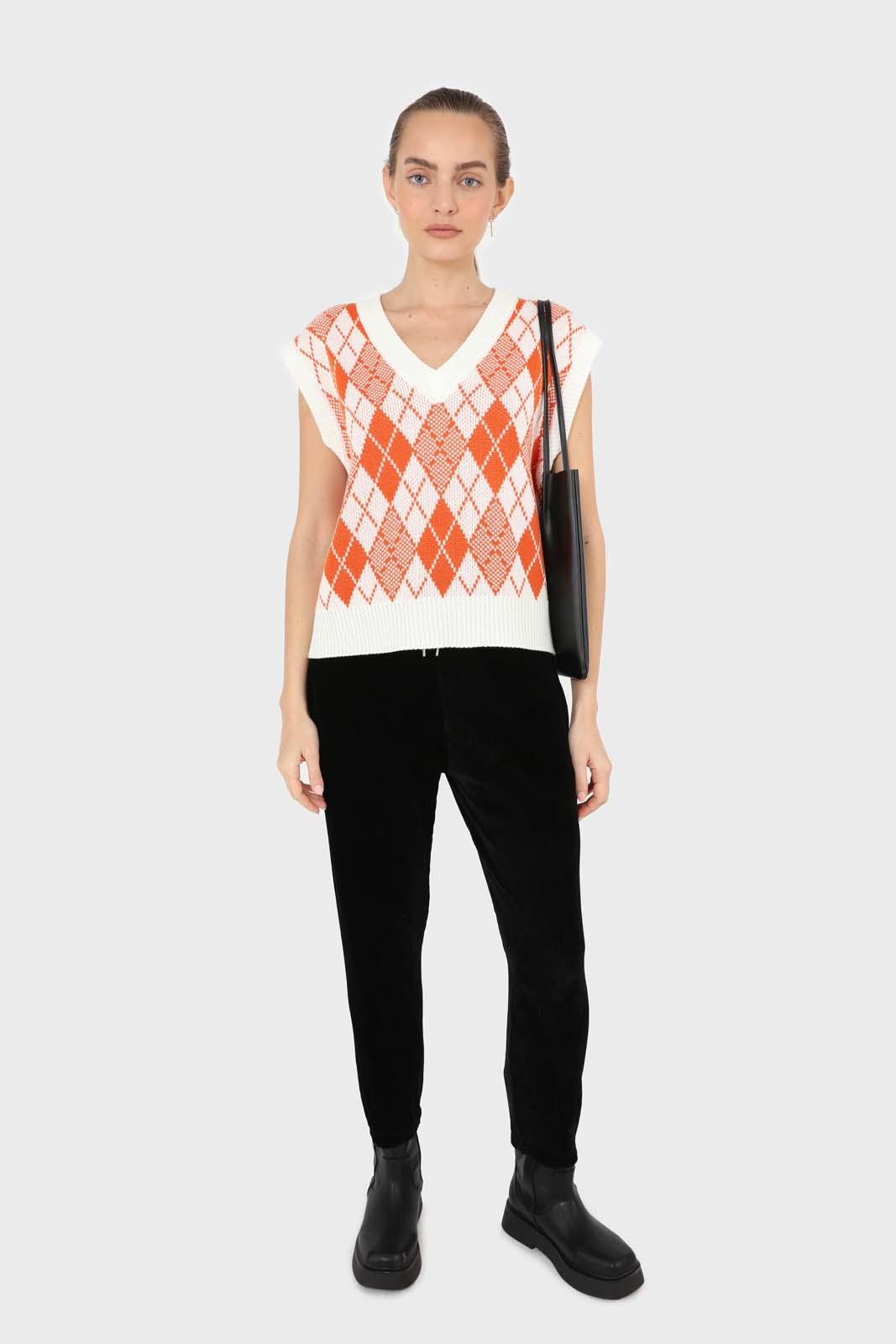 Ivory and orange bright argyle knit vest2