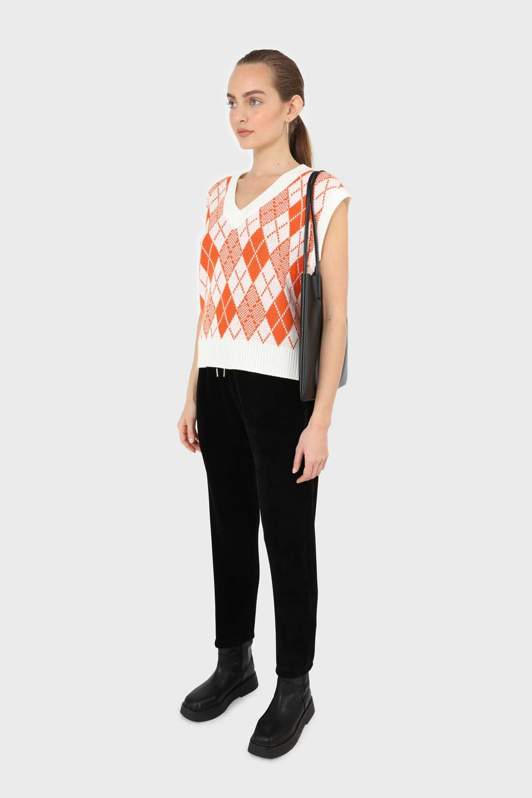 Ivory and orange bright argyle knit vest3