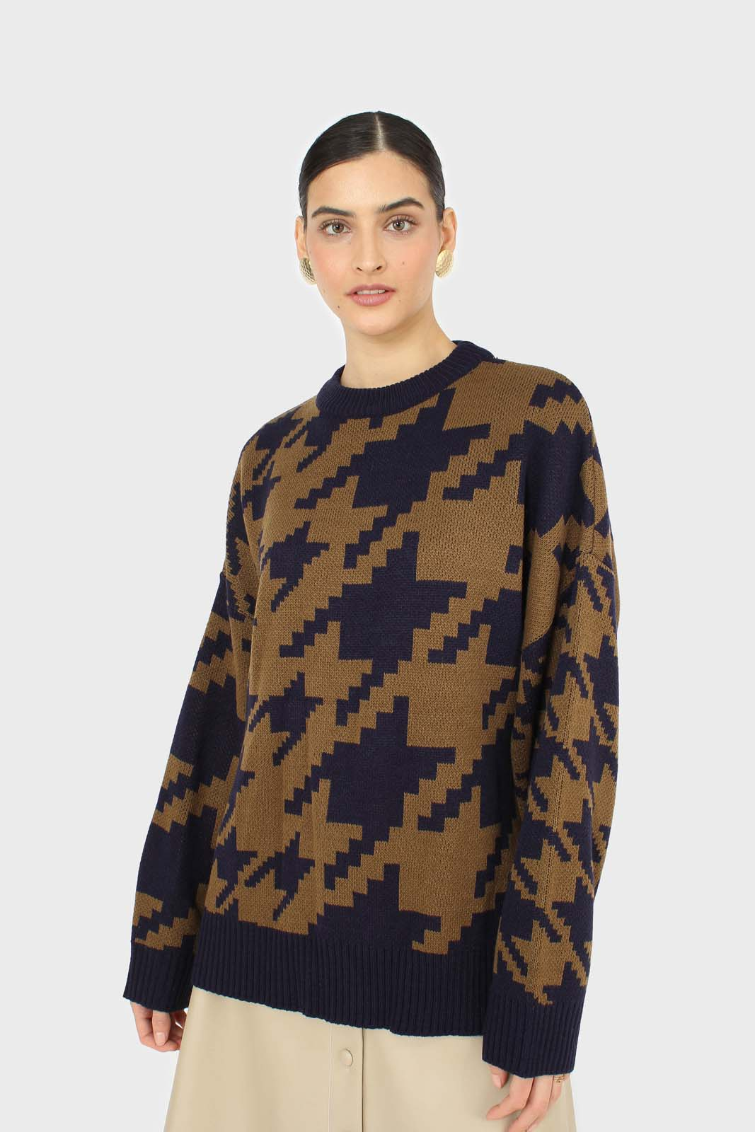 Navy and khaki houndstooth oversized jumper  8
