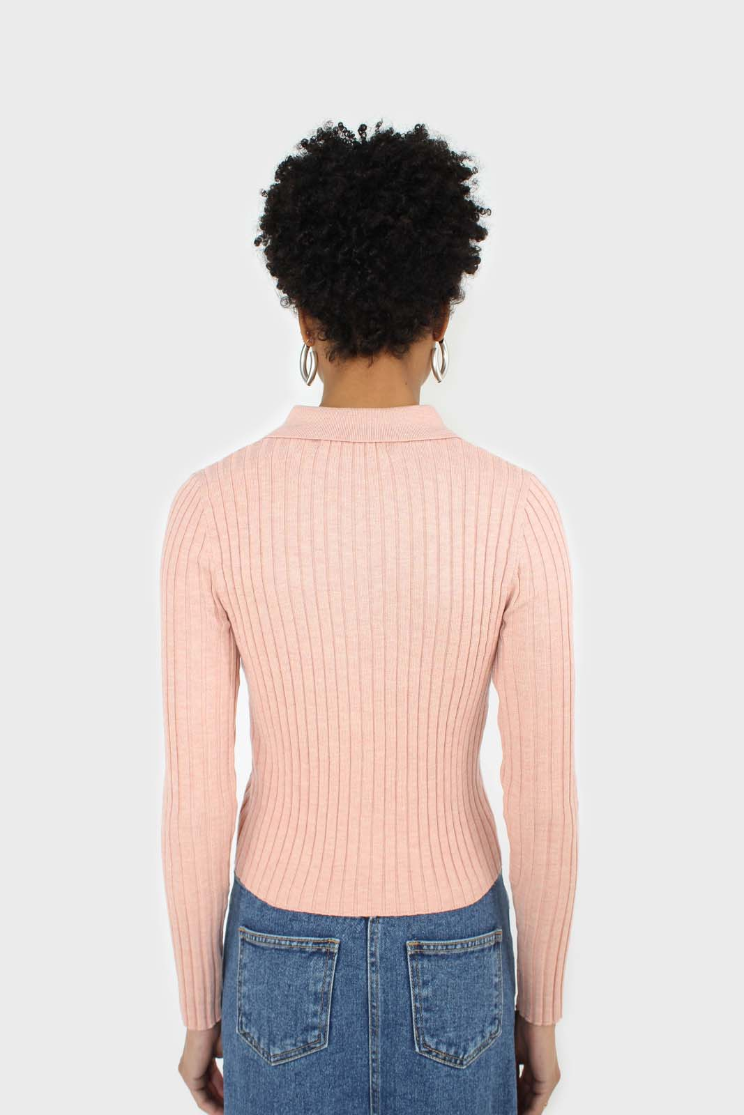 Pink zip up fitted knit top 3