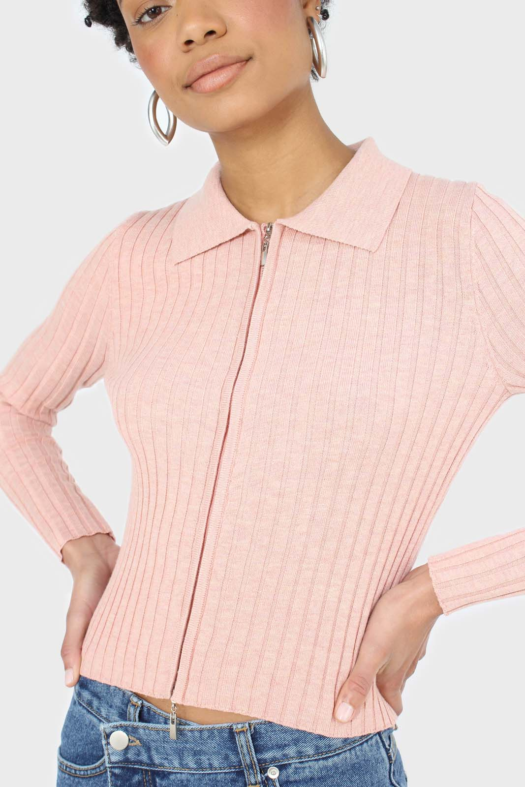 Pink zip up fitted knit top 4