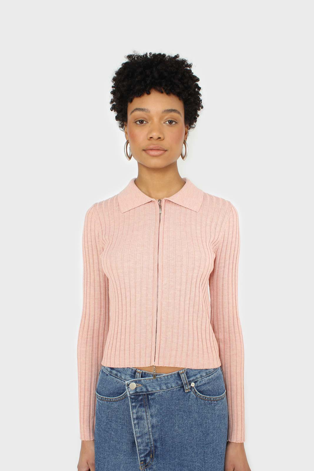 Pink zip up fitted knit top 5