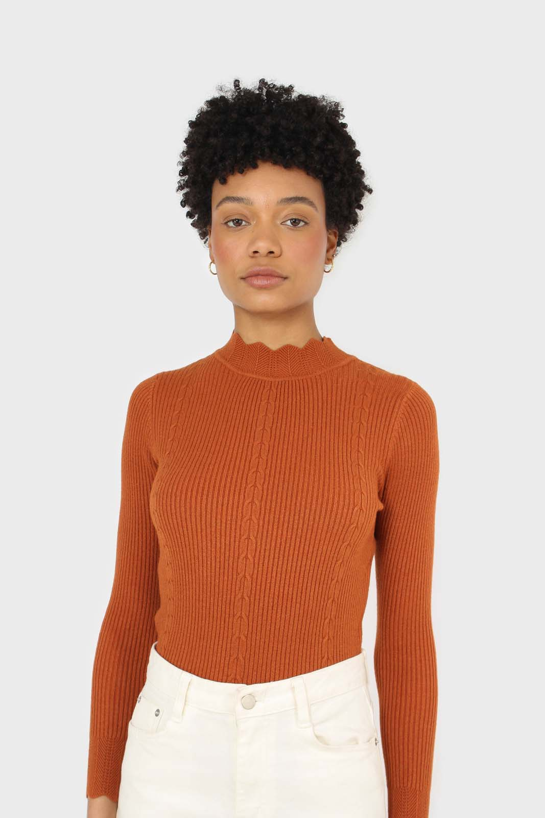 Burnt orange scalloped mock neck knit top 1