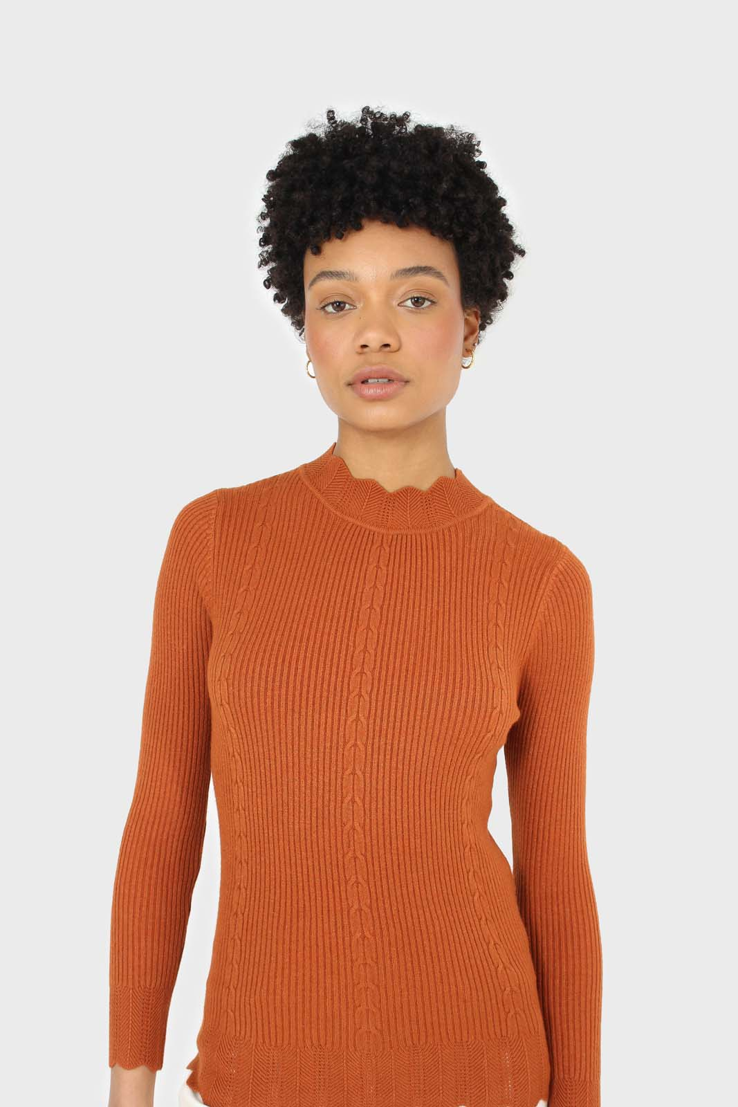 Burnt orange scalloped mock neck knit top 2
