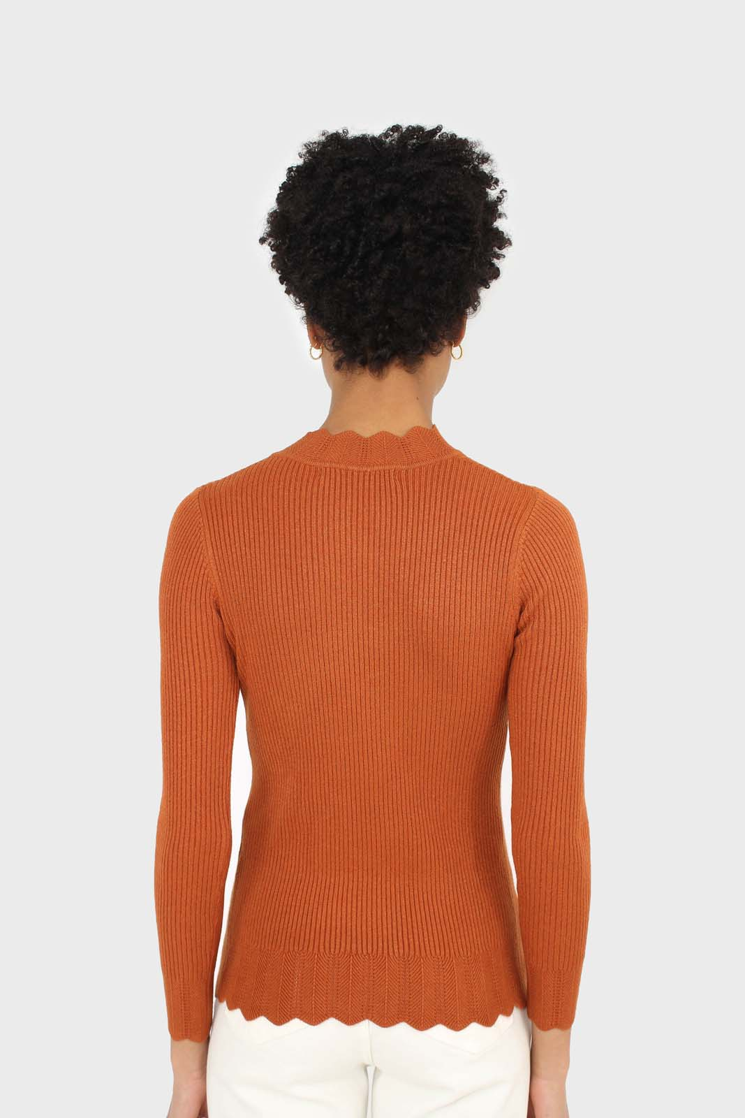 Burnt orange scalloped mock neck knit top 4