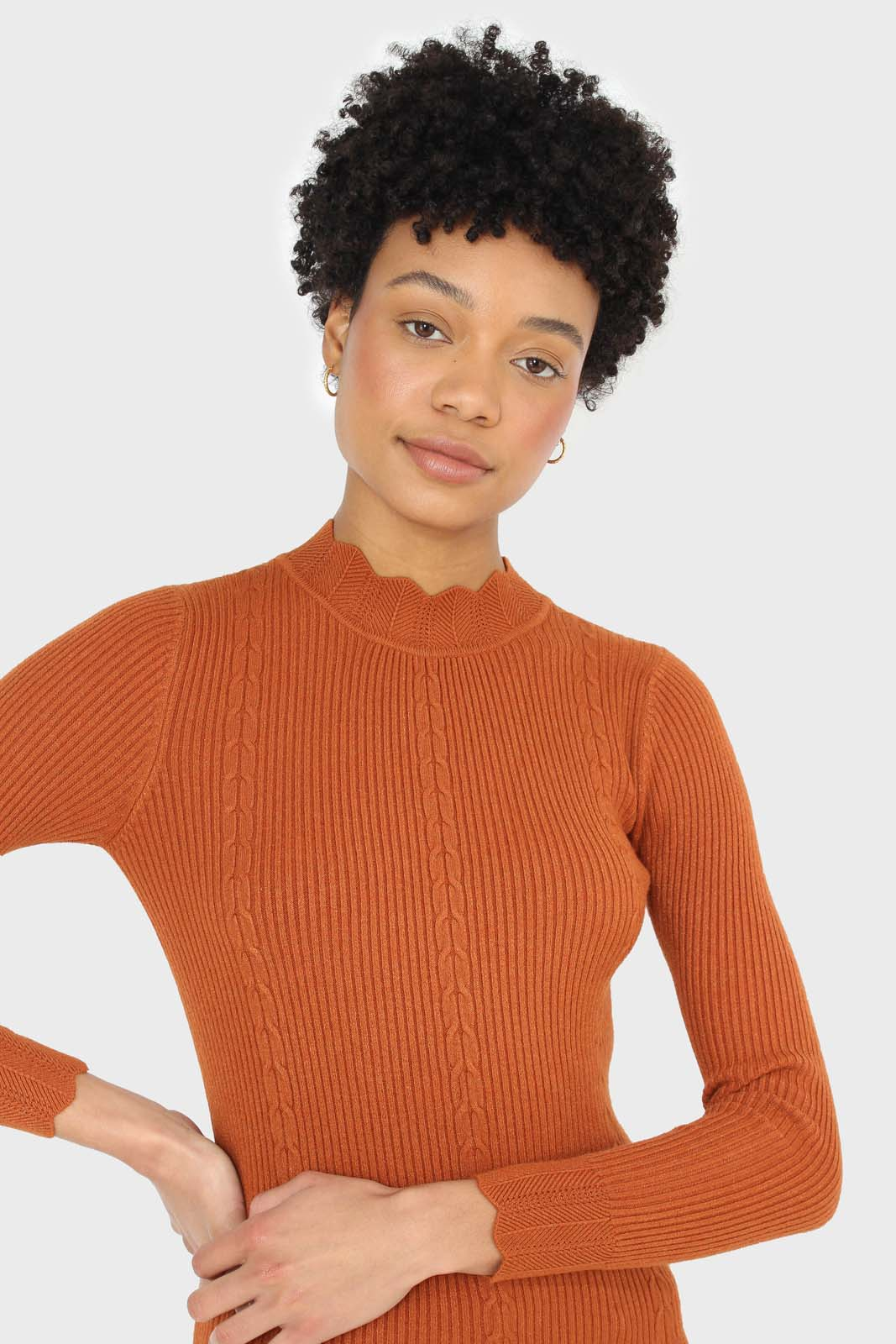 Burnt orange scalloped mock neck knit top 5