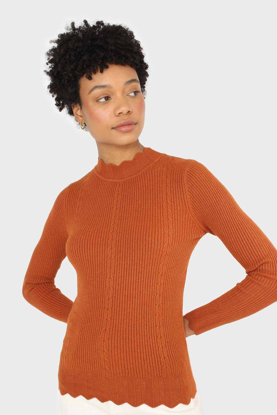 Burnt orange scalloped mock neck knit top sx