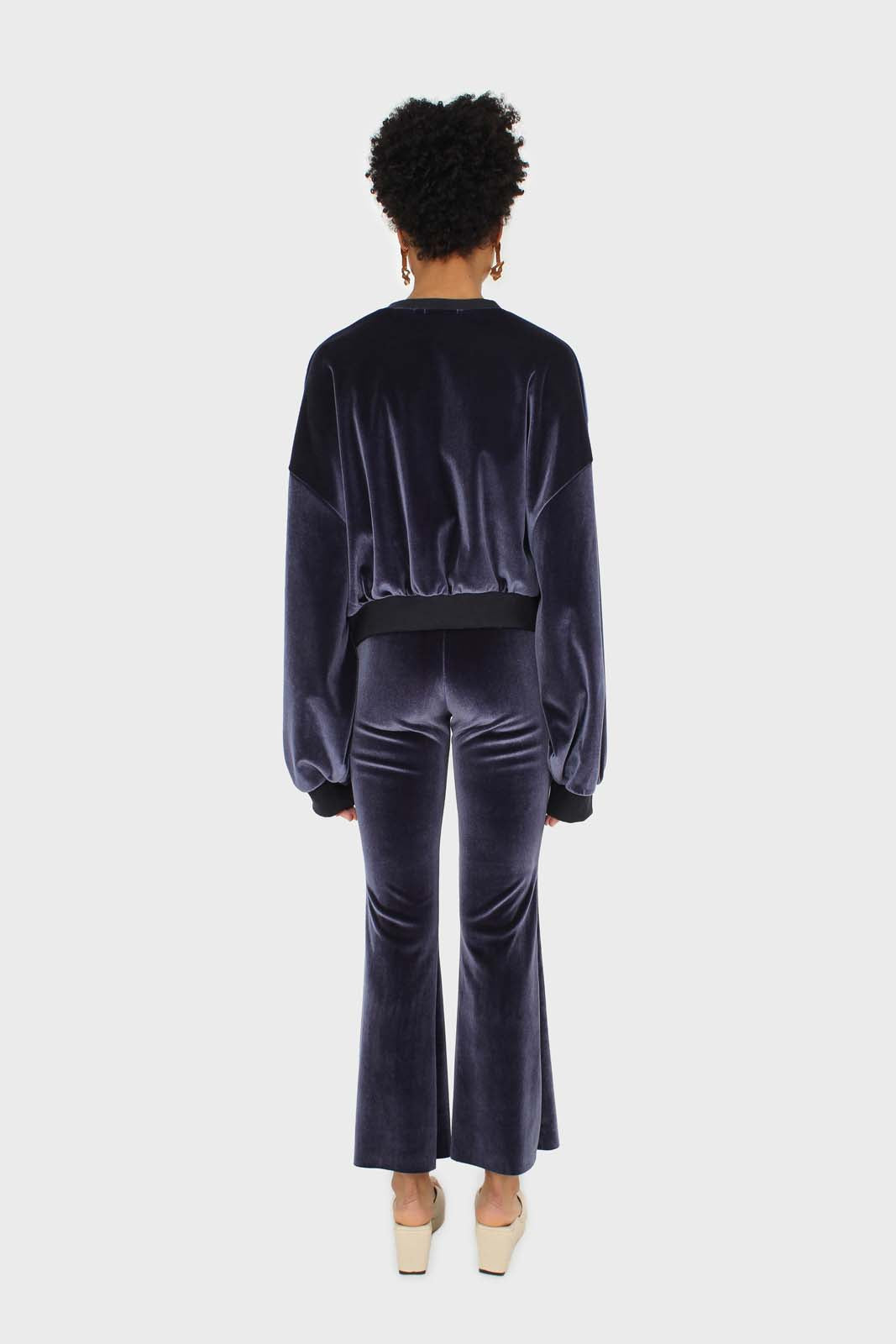 Navy smooth velvet pintuck bootcut trousers 3