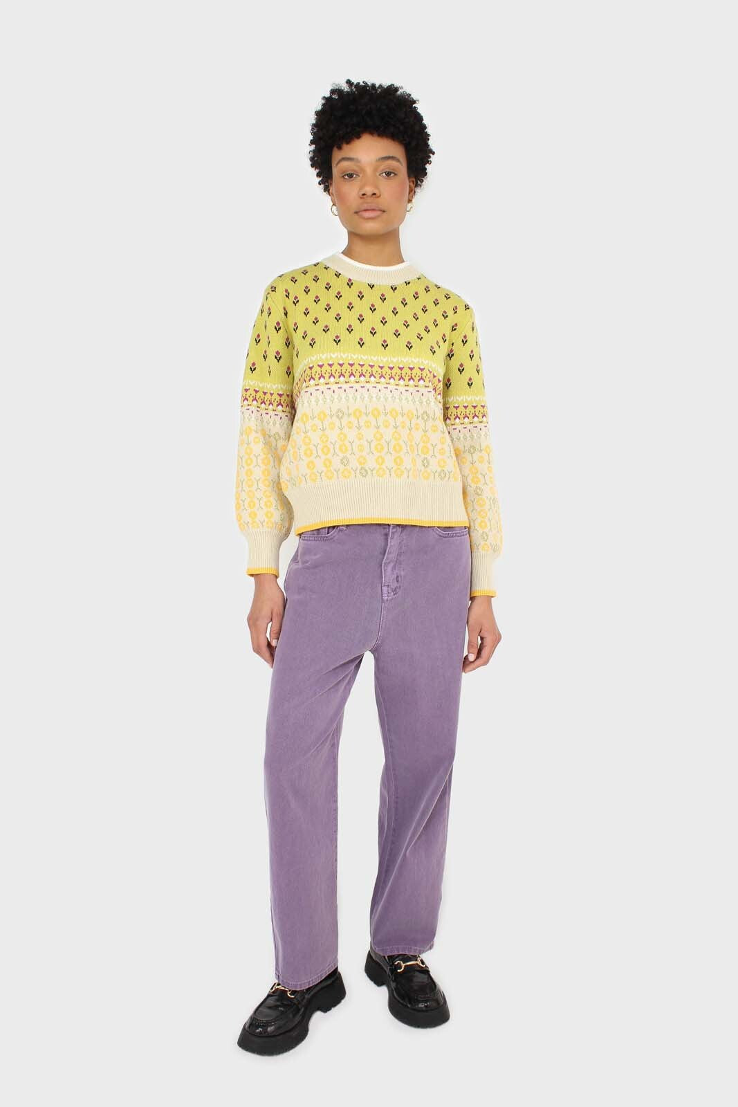Yellow floral contrast colourblock jumper1