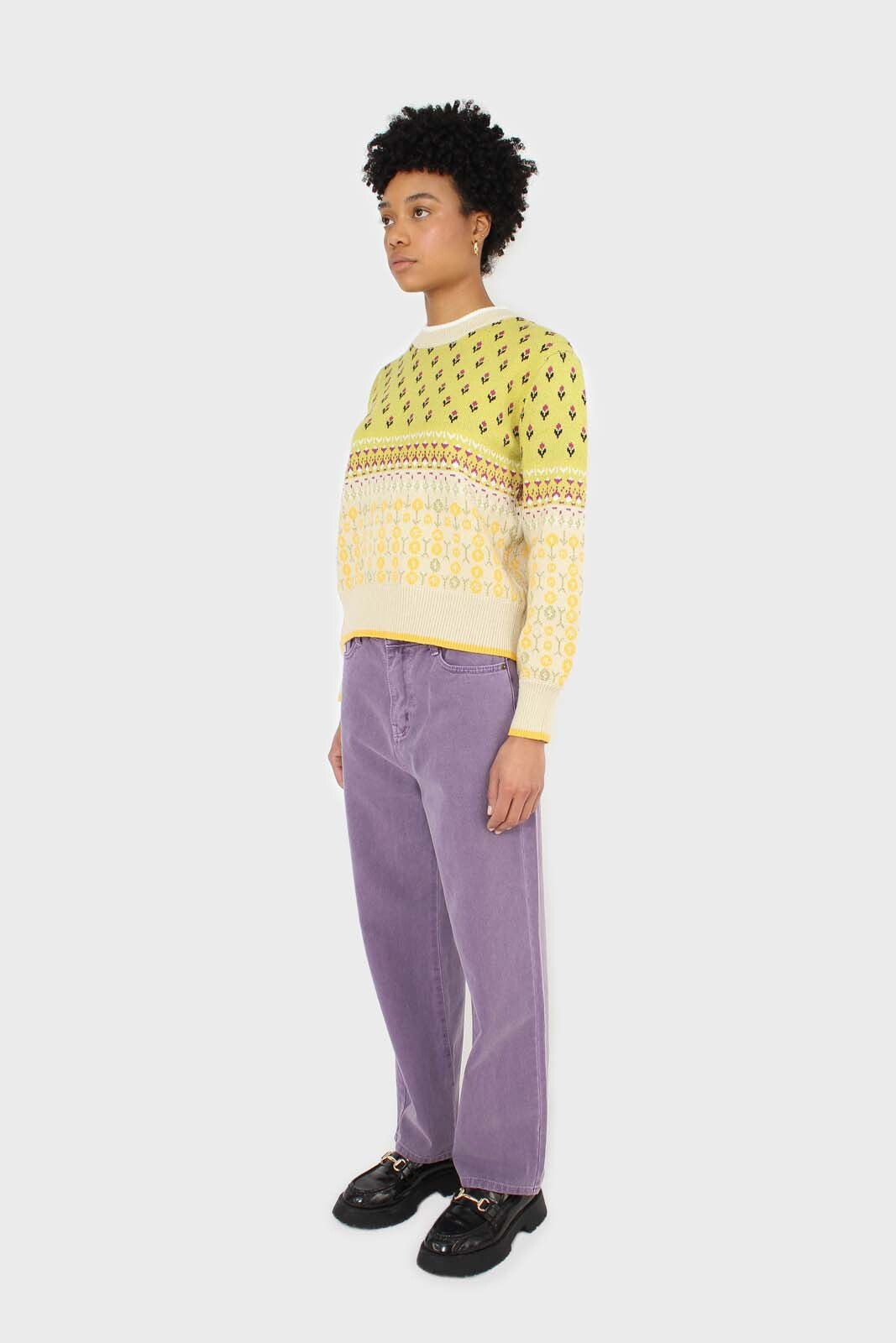 Yellow floral contrast colourblock jumper 2