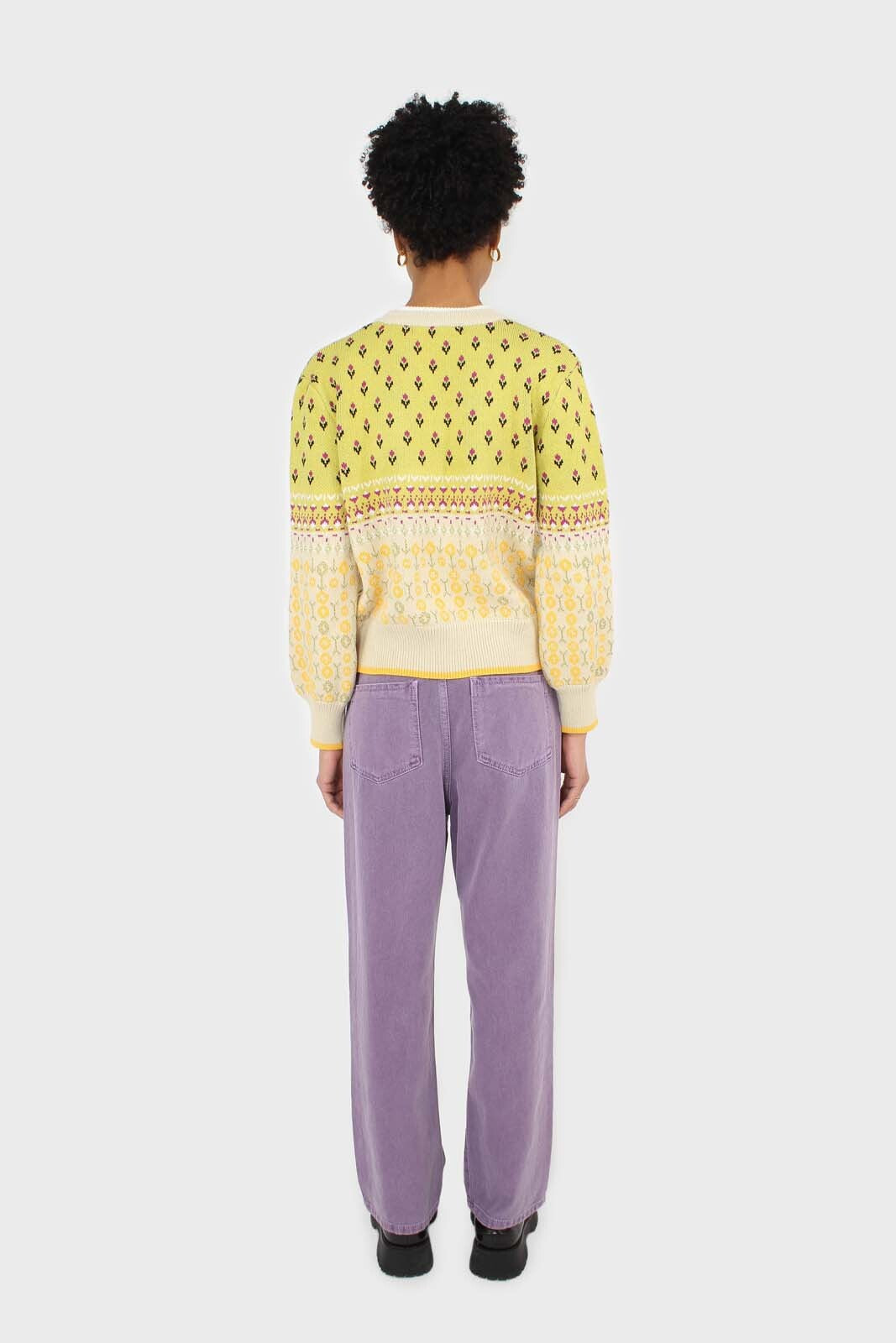 Yellow floral contrast colourblock jumper 3