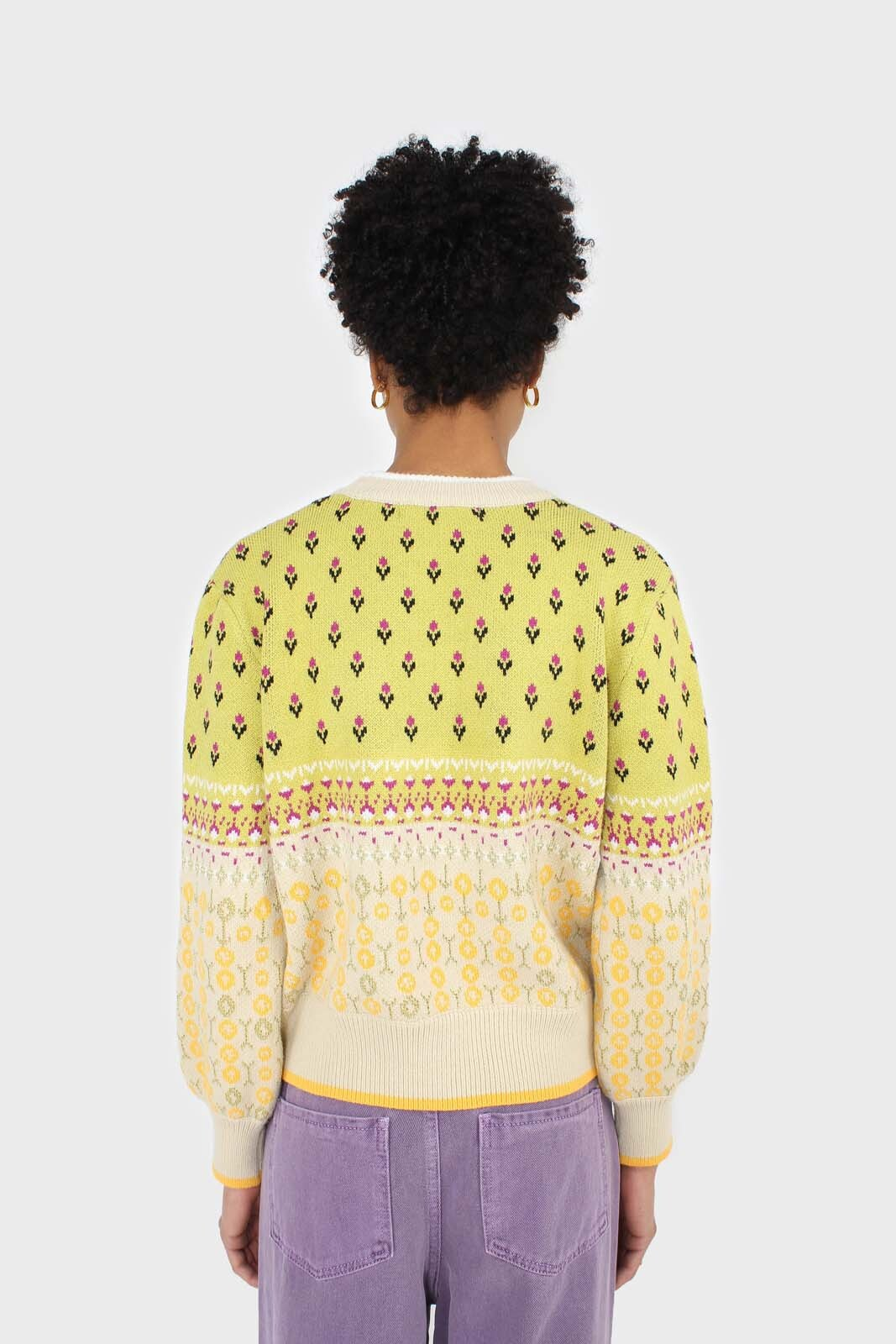 Yellow floral contrast colourblock jumper4