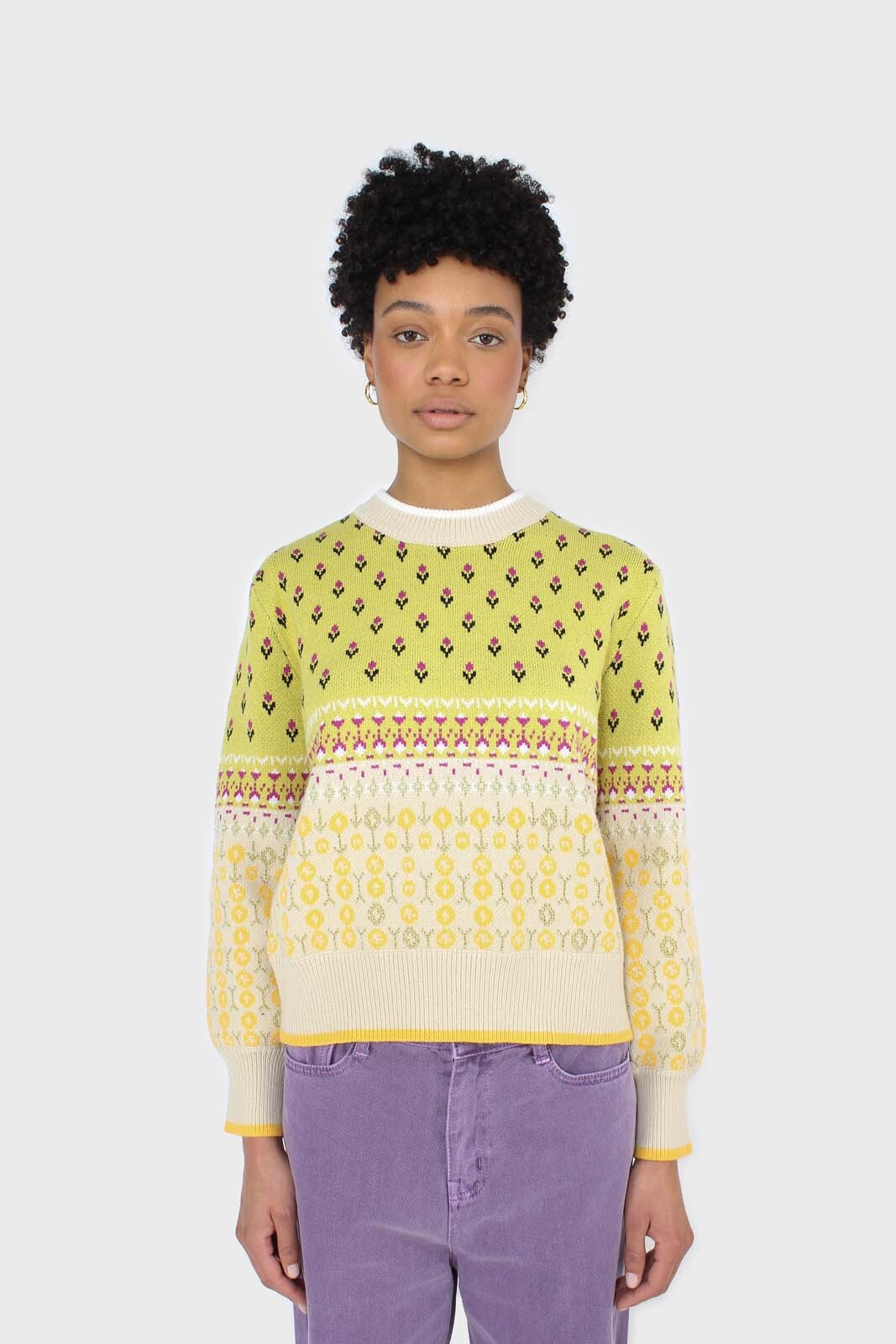 Yellow floral contrast colourblock jumper 5