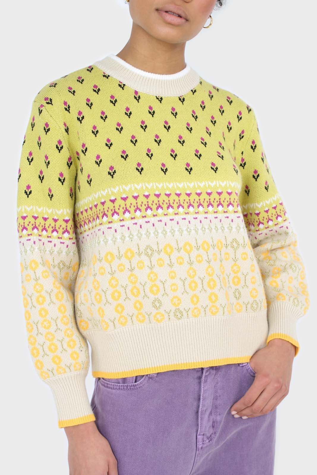 Yellow floral contrast colourblock jumper 6
