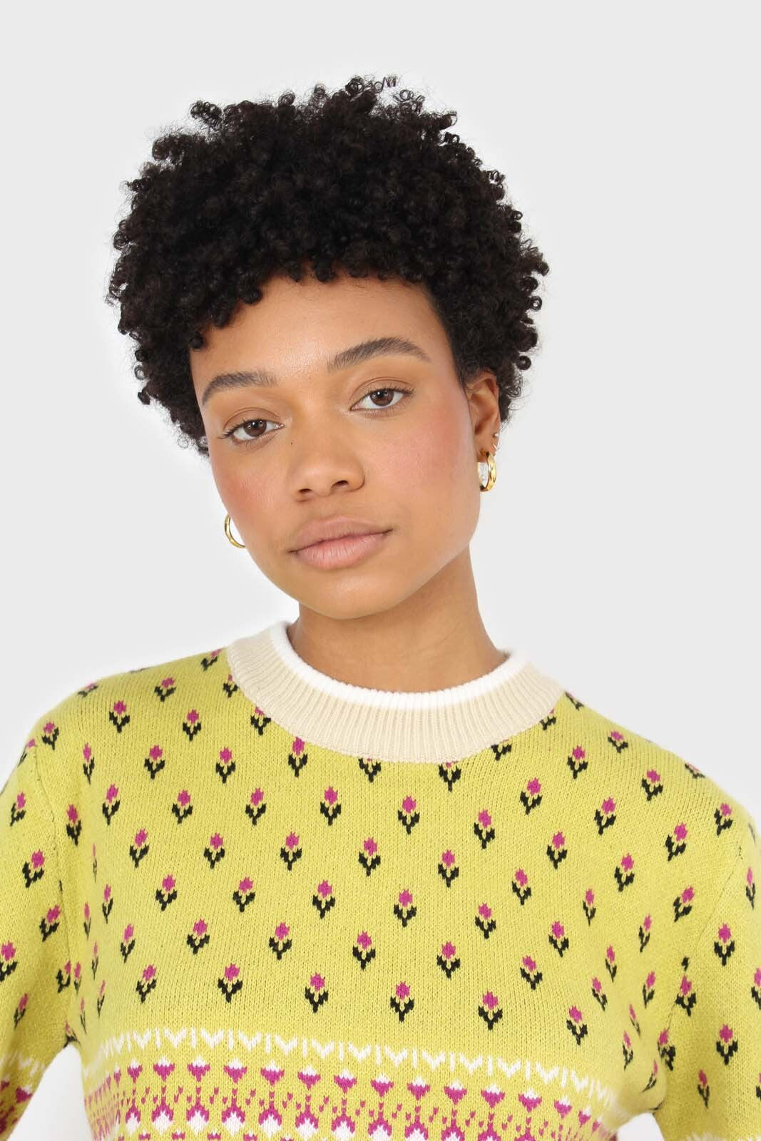 Yellow floral contrast colourblock jumper 7