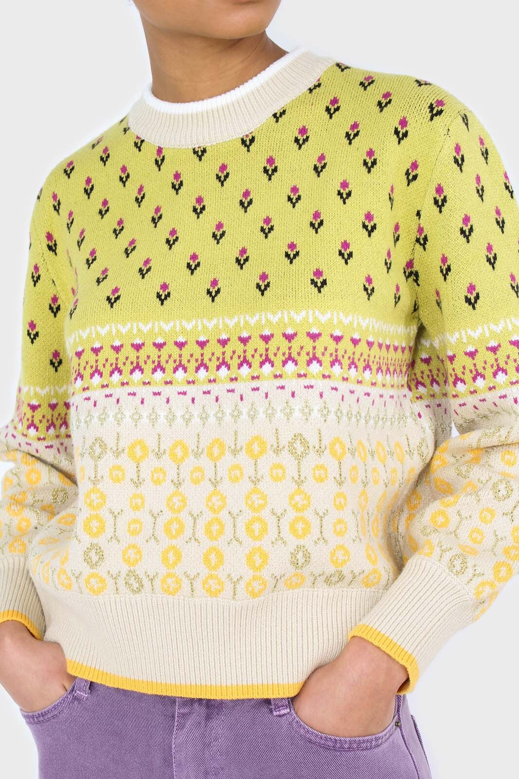 Yellow floral contrast colourblock jumper 8