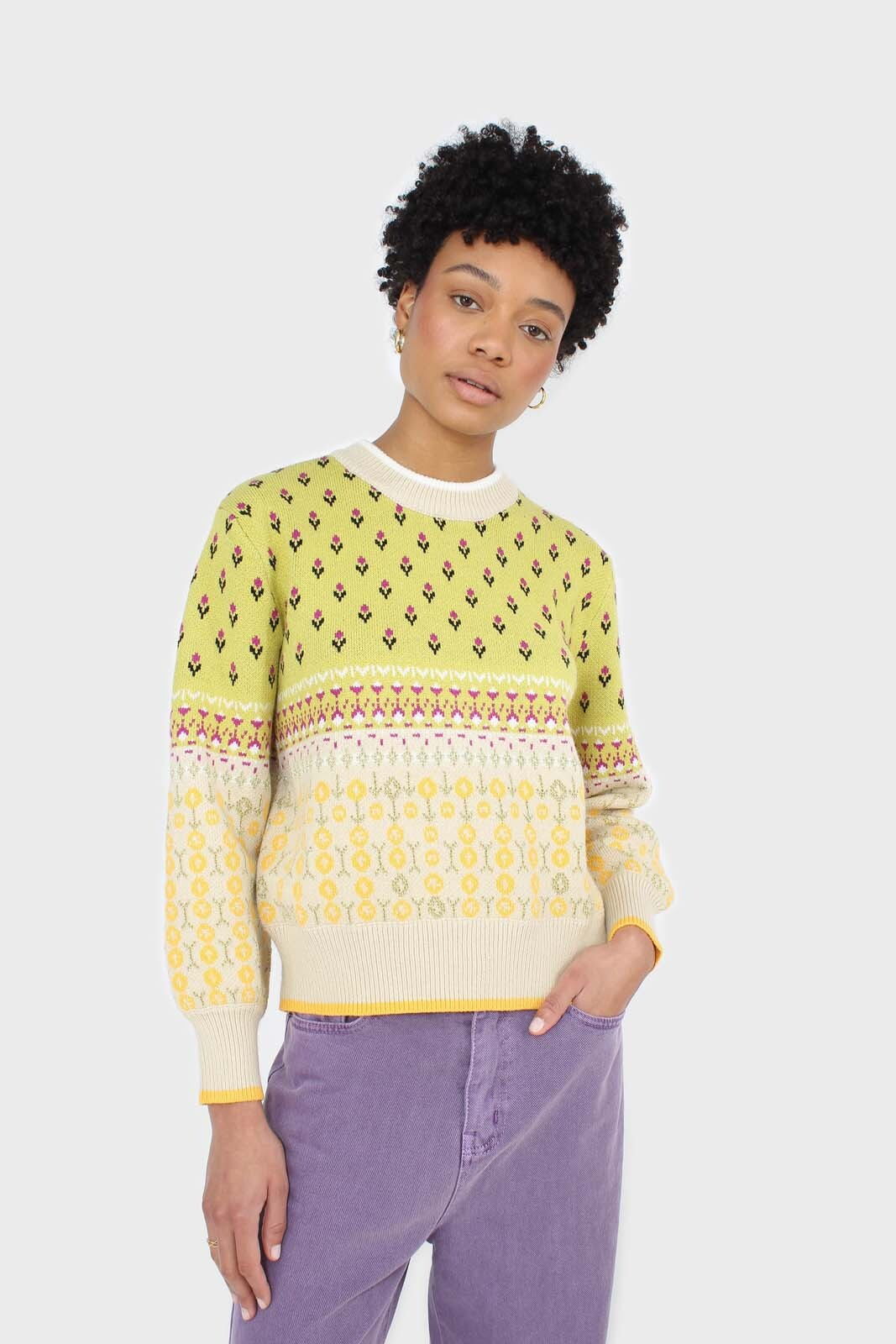 Yellow floral contrast colourblock jumper sx