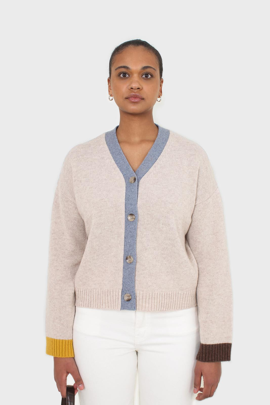 Oatmeal and blue contrast trim cardigan 5