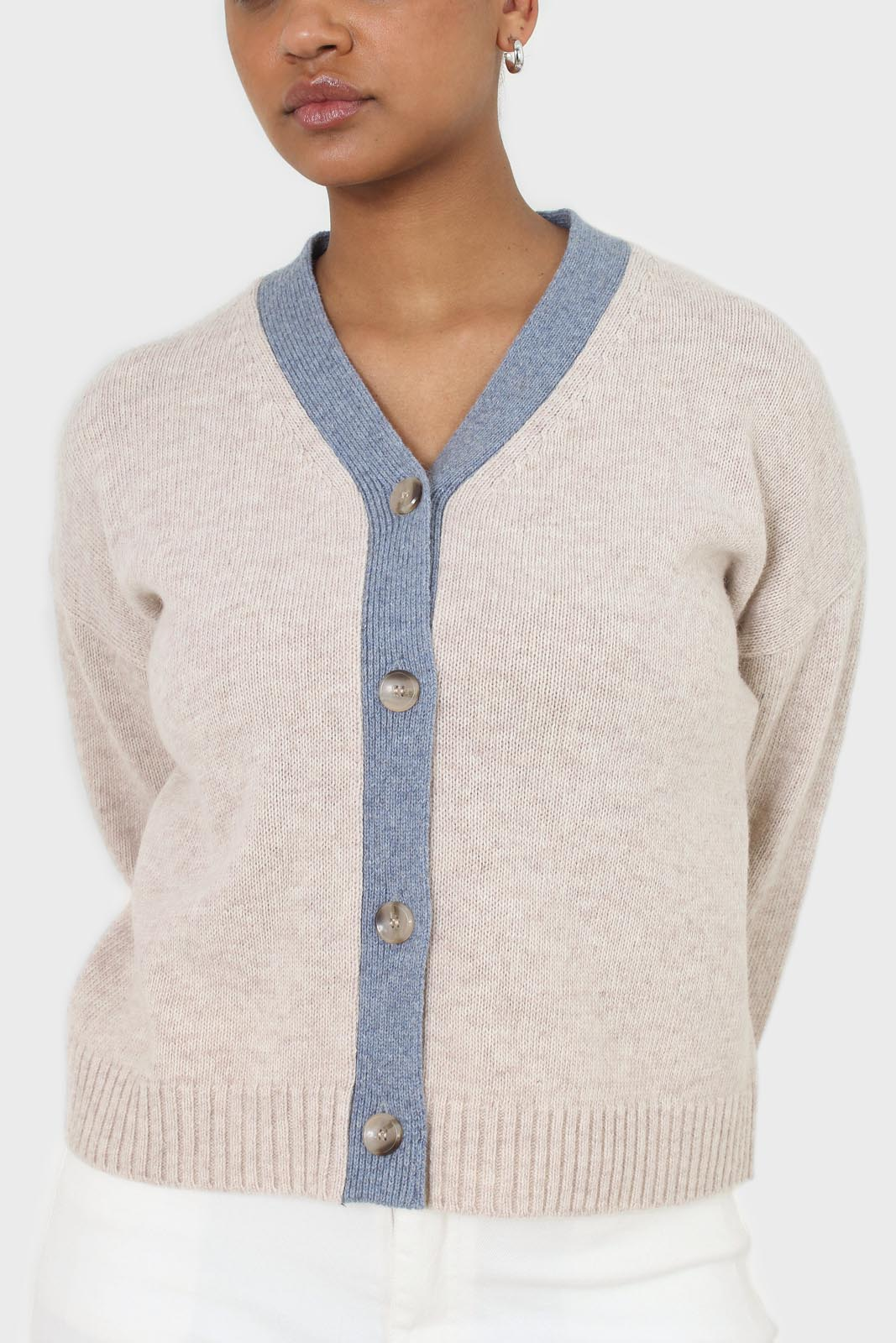 Oatmeal and blue contrast trim cardigan 6